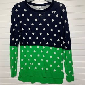 Crown and Ivy NWT polka dot colorblock sweater XS